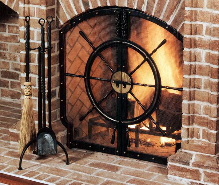 Кованые камины Кованый экран для камина черного цвета Арт. КА-011 Norkovka
