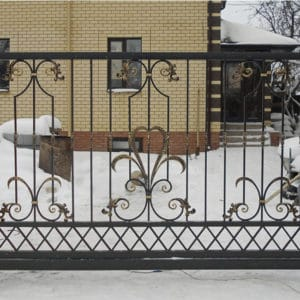 Кованые откатные ворота Откатные кованые ворота Генри Арт. В-007 Norkovka