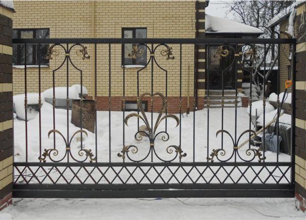 Откатные кованые ворота Генри Арт. В-007