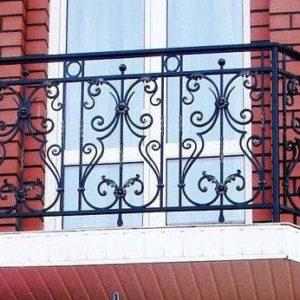 Французские балконы Чёрный кованый балкон Арт. Б-008 Norkovka