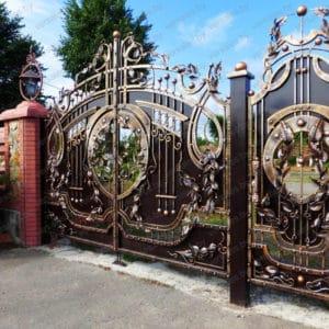 Кованые ворота с калиткой Декоративные ворота Диего Арт. В-014 Norkovka
