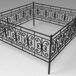 Кованые оградки Ритуальная кованая ограда на могилку Арт 12 Norkovka