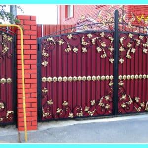 Ворота из профнастила с ковкой Кованные ворота из профнастила 1 Norkovka