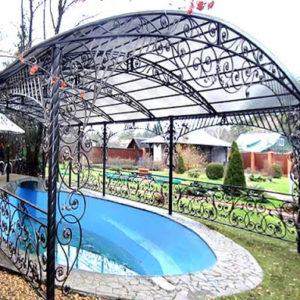 Кованые навесы Кованый навес для бассейна в саду Norkovka