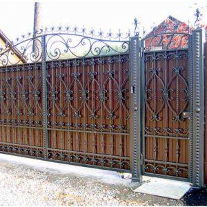Ворота из профнастила с ковкой Кованные ворота из профнастила 5 Norkovka