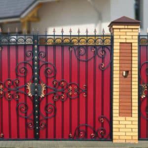 Ворота из профнастила с ковкой Кованные ворота из профнастила 4 Norkovka