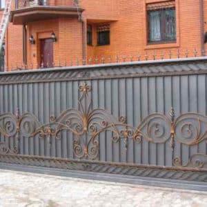 Кованые откатные ворота Откатные кованые ворота Арт. В-0080 Norkovka