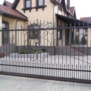 Кованые откатные ворота Откатные кованые ворота Арт. 002 Norkovka